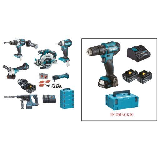 KIT DHP481+DTD153+DGA513 +DHR243+DTM51+DHS680+DC18RC+3 BL1850+4 MAKPAC MAKITA DLX6085TJ