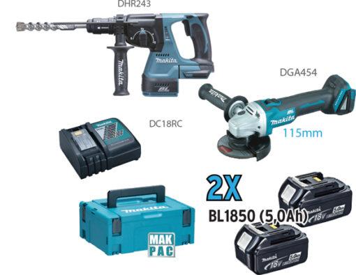 DGA454+DHR243+DC18RC+2 BL1850+MAKPAC Cod. DLX2156TJ1