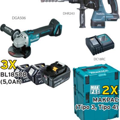 KIT MAKITA DHR243+DGA506+3 BL1850B+DC18RC+MAKPAC DLX2158TJ1