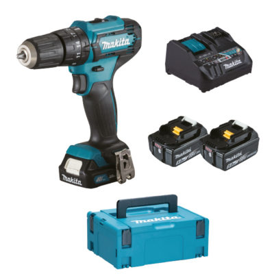 TRAPANO AVVITATORE MAKITA HP333D + KIT ENERGY DC18RE + 2 BATTERIE 18V 5Ah BL1850B + 1 BATTERIA 12V 2Ah BL1021B